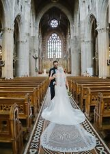 Cathedral length veil ivory stunning silver and embroidered detail along edging