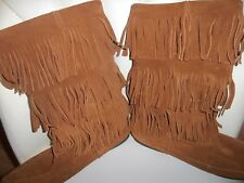 New Minnetonka Moccasin Sz 11 Leather 3 tier Knee High Fringe Suede Boots