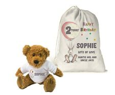 Personalised Teddy Bear Gift Bag Girls 1st Birthday 2nd 3rd 4th Daughter Niece