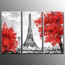 FRAMED Canvas Print Photo Eiffel Tower Painting Canvas Wall Art Home Decor-3pcs