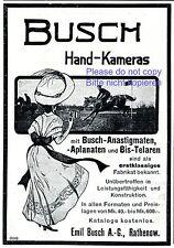 Busch Hand Kamera Rathenow Reklame 1910 Dame Pferderennen Sonnenhut Sommerkleid