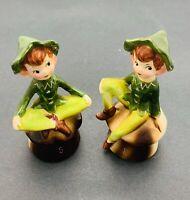 Vintage 1950's Enesco Pixie Elves on Mushrooms Salt & Pepper Shakers Japan