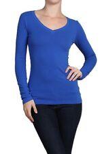 Cotton T-SHIRTS V-NECK Long Sleeve Women/Junior Solid Top S-XL SJ2022