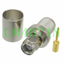 5pcs Connector SMA male plug crimp RG8 RG213 LMR400 RG214 cable nickel
