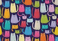 A1 Cartoon Cat Print Poster Art Print 60 x 90cm 180gsm - Cartoon Cat Gift #15649