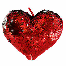 Red Heart Sequin Cushion Reversible Colour Design Valentines Day 20cm x 17cm