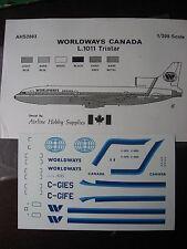 1/200 AHS DECAL LOCKHEED L 1011 TRISTAR WORLDWAYS CANADA DECALCOMANIES
