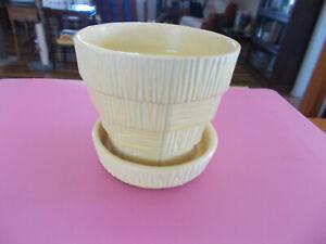 """Vintage McCoy Planter Yellow Basket Weave Pot Saucer 3.75"""" Benefits Pet Rescue"""