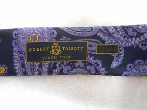 NWOT Robert Talbott Seven Fold Men's 100% Silk Purple/Navy/Gold Paisley Neck Tie