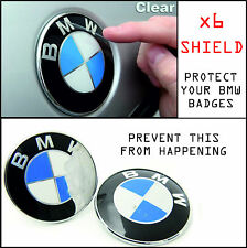 x6 BMW EMBLEMS SHIELD Badges Roundel Rims Wheel Caps Hood Trunk Clear Protector