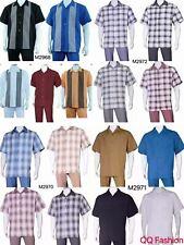 Men's 2pc Walking Suit Short Sleeve Casual Shirt &Pants Set M2968 2970 2971 2972