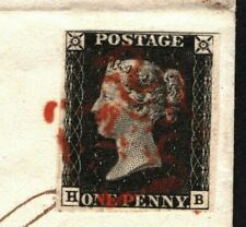 GB PENNY BLACK Cover Plate IV (HB) *Ilfracombe* Red MX Devon London 1840 798f