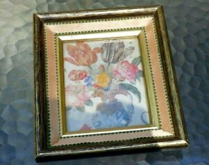 4x5 Picture Frame Photo yellow pink green gold color vintage antique