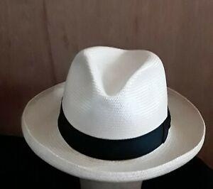 Dobbs Shantung Panama Straw Hat, sz 7 1/2