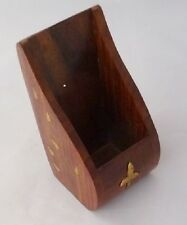 Bulk Buy 12 Hand Carved Wood Pen Pots Desk Tidy with Nautical Theme Brass Decor