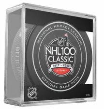2017 -18 NHL 100 CLASSIC GAME PUCK OTTAWA SENATORS VS MONTREAL CANADIENS IN CUBE