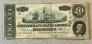 1864 $20 Confederate States America Note * Richmond Virginia VA * CSA * Obsolete