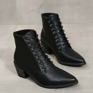 British Womens Pointed Toe Western Boots Block Mid Heel Lace Up Ankle Boots Size