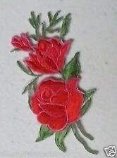 "(C65) 3 ROSES 3.75"" x 1.75"" flower iron on patch applique"