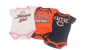 Chicago Bears NFL Baby Infant Girls 3 Piece Creeper Bodysuit Combo Set New