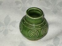 Vintage Small Miniature Green Inscribed Pattern Pottery Vase (Good For Incense)