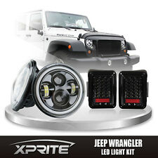 80W LED Headlight with Halo DRL & Clear Taillight Combo For 07-17 Jeep Wrangler