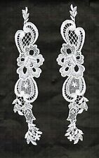"VICTORIAN VENISE LACE APPLIQUE FLORAL MOTIF BRIDAL CREFTS 9-1/2""  2pc #2293"