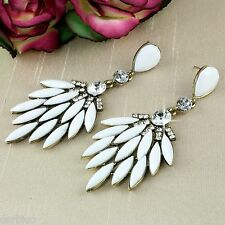 E7 White Resin and Crystals Leaf Chandelier Statement Drop Dangle Stud Earrings