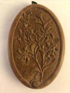 Antique Hand Carved Covered Purse Mirror Clever Closure Design C1860 Belgium