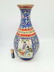 "Superb Chinese Vintage 20thc Hexagonal Enamelled Vase Qianlong Signed 9"""