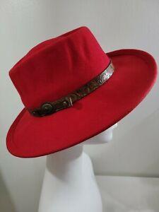 Betmar womens Red Wool Felt Fedora Panama Hat Tooled Leather Band