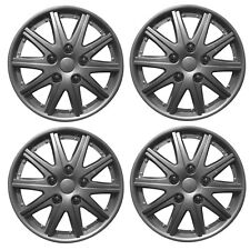 "Stealth 14"" Car Wheel Trims Hub Caps Plastic Covers Silver Universal (4Pcs)"