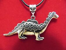"""NEW"" TIBETAN SILVER DINOSAUR NECKLACE ON A 18 INCH BLACK WAXED-CORD CHAIN 2MM"