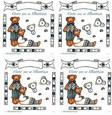 4 Sheets Bo Bunny BABY Cute as a Button Scrapbook Stickers! Bear Corners Banner