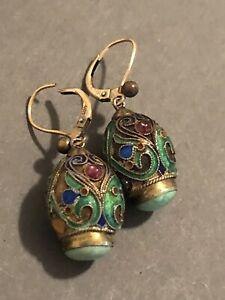 VINTAGE / ANTIQUE CHINESE ENAMEL NATURAL TURQUOISE EARRINGS