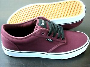 Vans Men's Atwood Canvas Oxblood Red White Skate casual Shoes Size 10.5 NWT