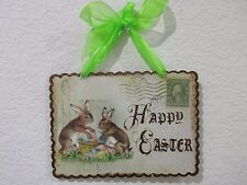Primitive Vintage Style Happy Easter Bunny Rabbit Metal Hanging Sign Decoration