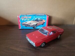 ST Vintage Friction Ford Mustang Mach 1 Red Tin Car with Box
