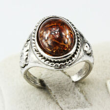 Amber Gemstone Fashion New  Jewelry 925 Silver Men Women Ring Size 8