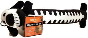 "Multipet Loofah Loofa Squeaky Dog Toy Halloween Skeleton Plush Black 12"" long"