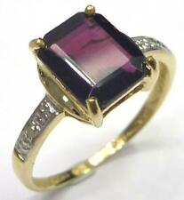 SYJEWELLERY 9CT SOLID YELLOW GOLD NATURAL GARNET & DIAMOND RING SIZE N R1257