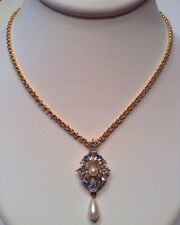Vintage Signed MONET Jewelry Necklace 22k Gold Plated White & Blue Crystal Pearl