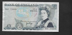 Bank of England, J.B.Page £5 , M02 replacement note