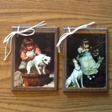 5 Hand-Crafted Wooden Ornaments / HangTags COLONIAL GIRLS WITH PET DOGS Set1