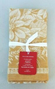 Williams Sonoma Holiday Floral Jacquard Set of 4 Napkins NEW