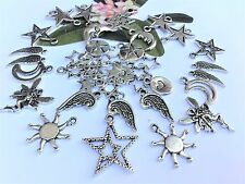 40 Celestial Mix Sun Moon,Fairy,Wing Star Charms & connector  *updated*