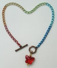 """or custom anklet with butterfly pendant Rainbow aluminum chain Nickel Free 9.4"""""""