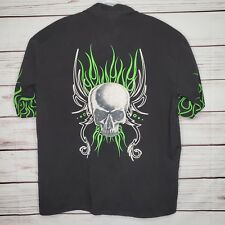 Dragonfly Skull Green Flame Grapghic Button Front Casual Shirt Large Hot Rod -03