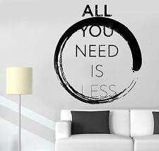 Wall Sticker Buddha Enso All You Need Is Less Motivation Quotes  Decal (z2911)
