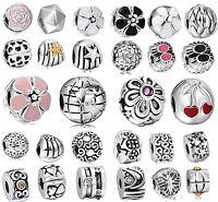 Flower Series Silver Clip Clasp Bead Fit European 925 Sterling Charm Bracelets